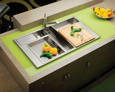 Fregadero para limpiar fruta y verduras.