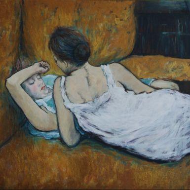 Ručne maľovaný obraz - Dámy na zlatej posteli. Akryl na plátne, ošetrený lakom.<br><br/>Dielo je parafrázou na obraz L'abandon (Les deux amies)