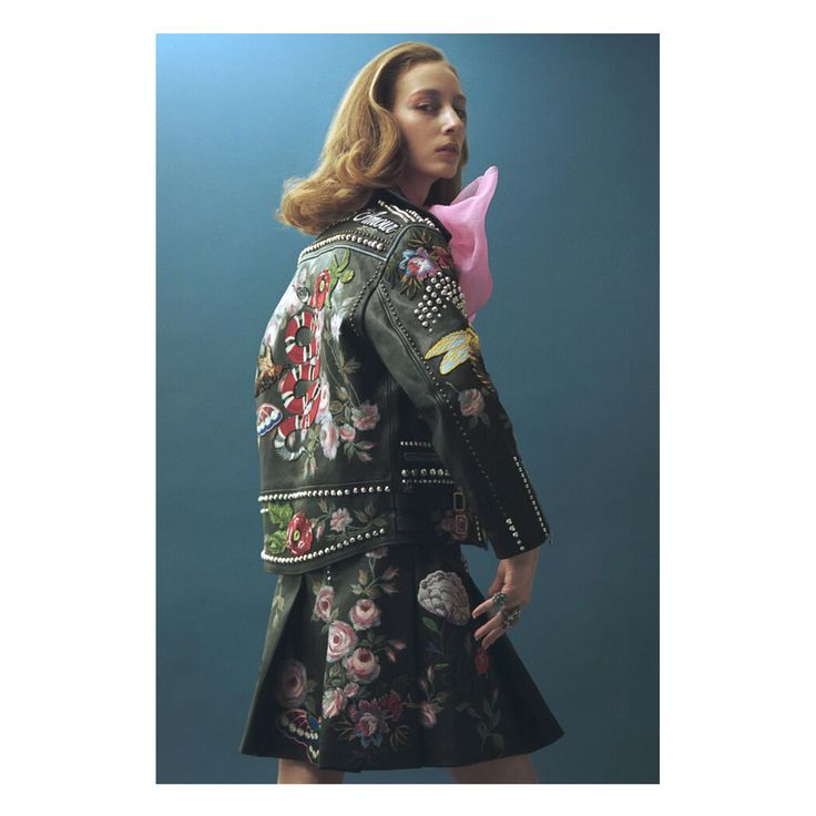 Featured in the latest issue of Jalouse Magazine, the Gucci Spring Summer 2016 embroidered and studded leather jacket, and the pink organdy blouse by Alessandro Michele.
