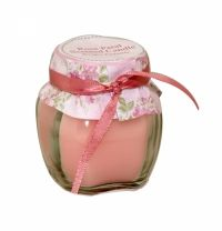 Sil Rose Petal Jam Pot Scented Candle A rose scented candle in a small jam jar. Approximately 5 x 6cm in size.