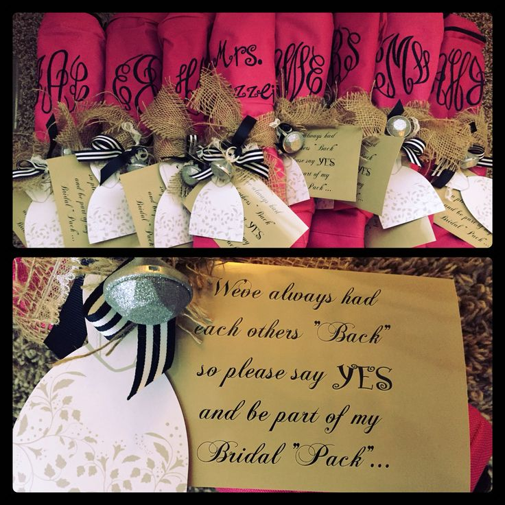 Will u be a bridesmaid? You've had my BACK be part of my Bridal PACK . . . LOVE this unique idea for asking bridesmaids. . . #gettingMAZZEIed @beccaaultman