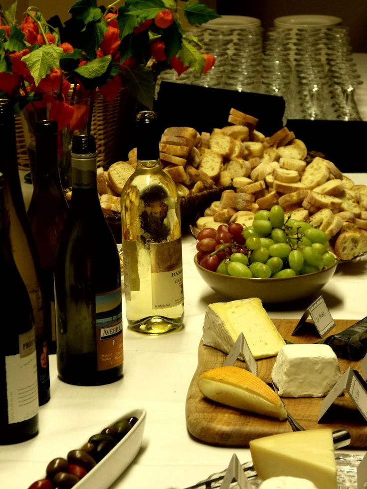 wine and cheese perfection, using wine bottles as vases!  @Kat Ellis Becker