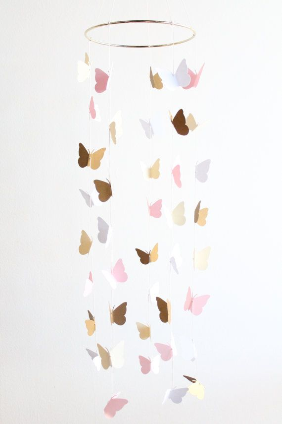 Gold and Pink Butterfly Mobile Baby Girl Nursery Crib Cream Toddler Room Decor Home