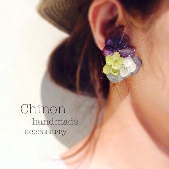 紫陽花のアシンメトリーイヤリング -Primrose closet