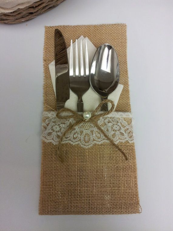 Burlap Silverware Holder, Burlap Utensil Holder, Burlap utensil pocket, Burlap and Lace Utensil holder, Rustic Wedding Decor Set of 8