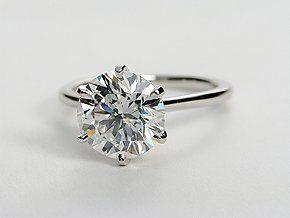 Petite Nouveau Solitaire Engagement Ring in Platinum