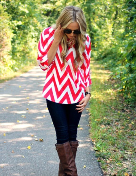 This pink chevron is really pretty in the loose blouse.  The boots look really look good with the outfit too.