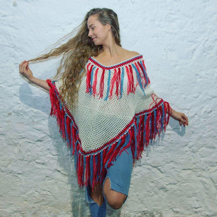 #UjalaBabe @gemmanewlandd in the NEW poncho design with her lush hair✨🌟🔥 Shop link in bio . . #ujalabeach #australiandesigner  #crochet #cream #blue #peach #red #tassels #poncho #bohemian #60s #70s #fashion