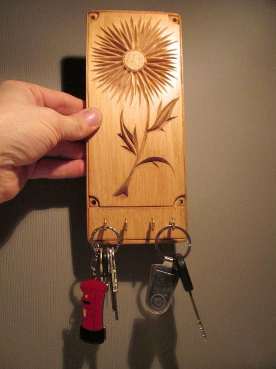 Wooden key holder chip carving wood carving wood by halfron