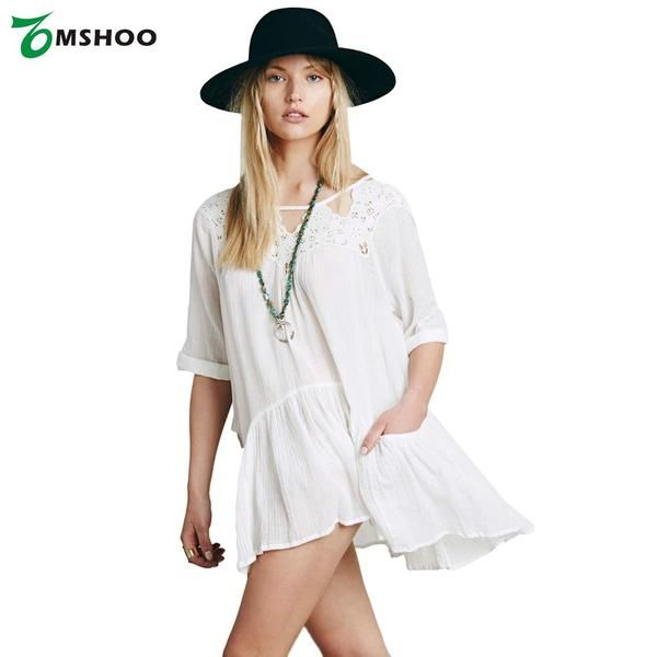 New Europe Women Beach Dress Lace Hollow out Pockets Half Sleeve Loose Bikini Cover Up White