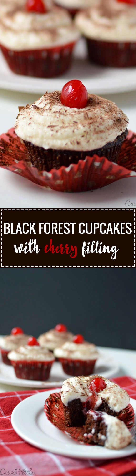 This classic cake is re-imagined in cupcake form with a dark chocolate base, creamy frosting, and a surprise cherry filling middle. | crumbkitchen.com