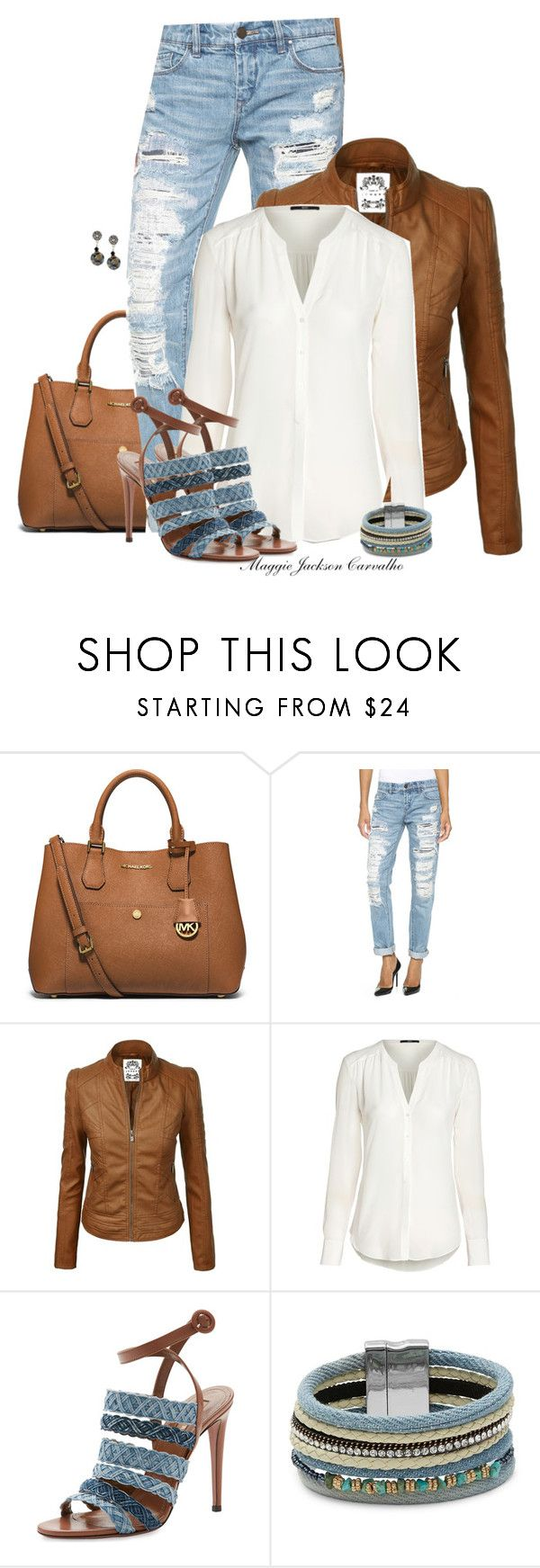 """""""Denim Sandals"""" by maggie-jackson-carvalho ❤ liked on Polyvore featuring MICHAEL Michael Kors, Blank Denim, Aquazzura and Design Lab"""