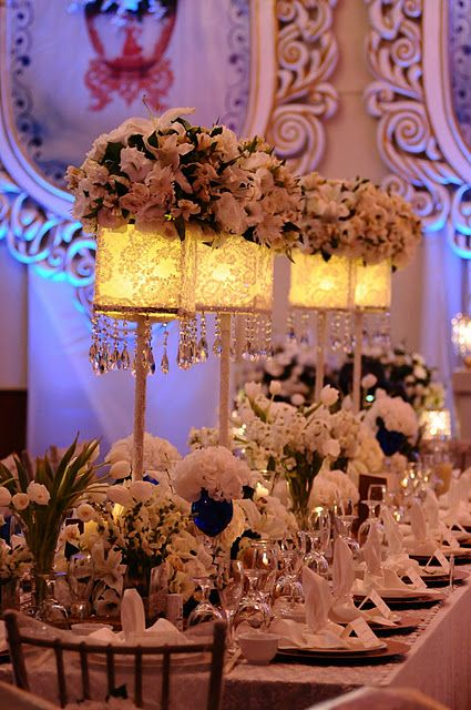 White Wedding Victorian I LOVE THIS TABLE SETTING WITH PRETTIER LAMPS LOL