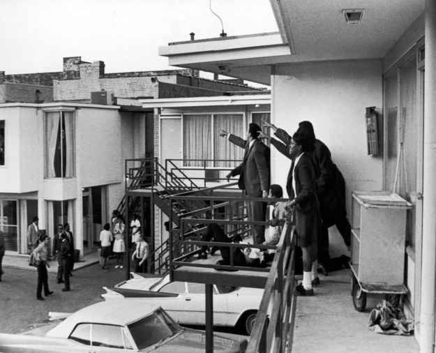 April 4, 1968 — Assassination of Martin Luther King Jr.Joseph Louw / The LIFE Images Collection / Getty  Ralph Abernathy, Jesse Jackson, and others stand on the balcony of the Lorraine Motel and point in the direction of gunshots that killed American civil rights leader Martin Luther King Jr. in Memphis.