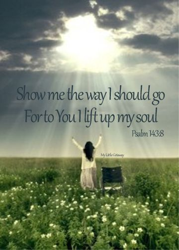 Psalm 143:8 ~ Show me the way I should go for to You I lift up my soul...