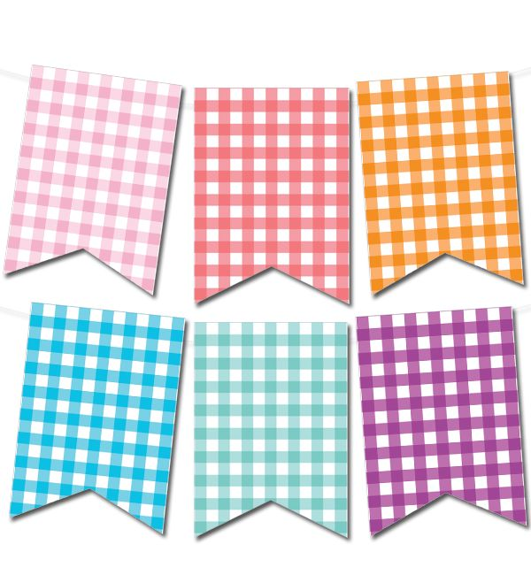Free printable gingham pennant banner from printablepartydecor.com