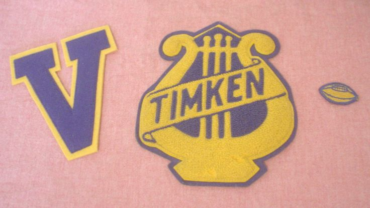 Vintage Letterman Patches Timken Ohio Blue Yellow V Varsity Football High School Band Lyre Music Scrap Book Scrapbooking Arts Crafts Collect by HerOptionsforYou on Etsy