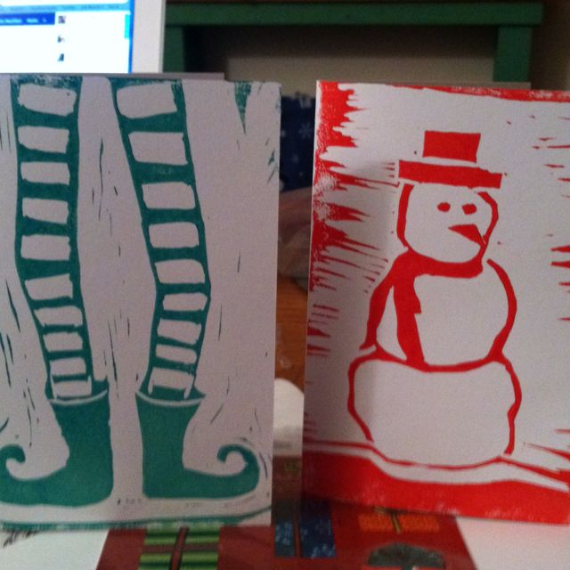 My Lino print Christmas cards.