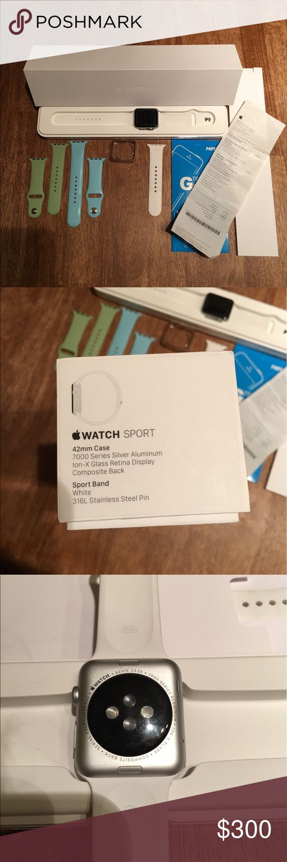 Apple Watch Sport 42mm Practically Brand New! Series 1 Sport, 42mm, Aluminum casing Has a slight scratch on the top right corner of the screen - it's not noticeable at all - AppleCare would cover it. Will be wiped clean before shipping! - unlocked, cleaned etc. HAS AppleCare until 7/29/17! - I will include the receipt for this. Comes with: Original box charger + port Blue band + green band (not Apple brand) White original band Bumper + screen protector. I just upgraded and don't have a…