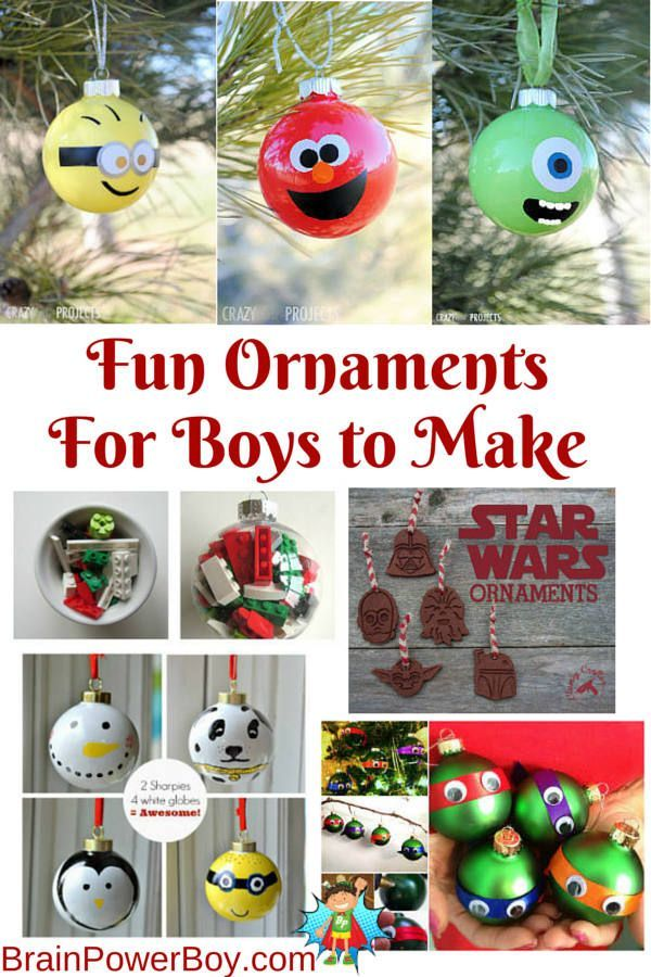 Great selection of Christmas ornaments for boys to make! LEGO, Star Wars, penguin, snowman, puppy, minion, ninja turtles and more. Hands-on, creative fun.