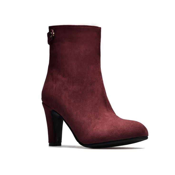 Miss Shoes 1309 Round Head and High Heel Height Heel Stretch Boot - BURGUNDY 42--$36.62