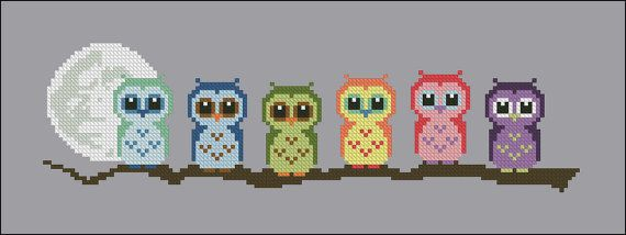 Cute Little Owls on a branch PDF cross stich by cloudsfactory