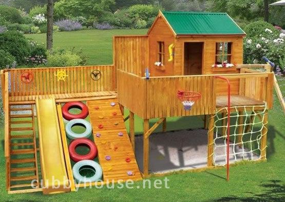 Cubbyhouse - Has tree house accesoriesIdeas, Plays House, Playhouses, Backyards Playgrounds, Kids, Plays Area, Plays Sets, Cubbies House, Swings Sets