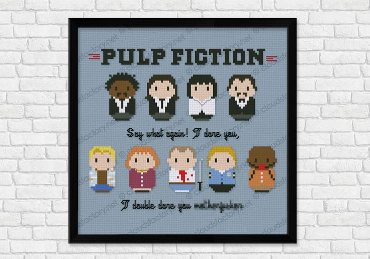 "A cross stitch pattern for all the Tarantino lovers! Pulp fiction, featuring Jules Winnfield, Vincent Vega, Mia Wallace, Mr. Wolf, and then Ringo ""Pumpkin"", Yolanda ""Joney Bunny"", Butch Coolidge, Zed and Marsellus Wallace.The pattern includes two alternat"