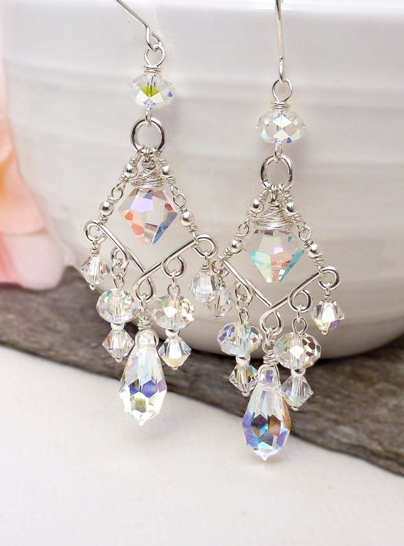 Crystal chandelier earrings crystal bridal by CreativityJewellery, $85.00