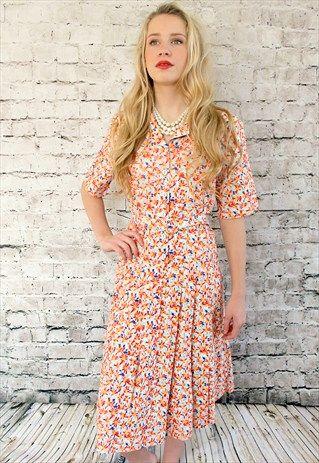 True+Vintage+80s+Retro+Floral+Dress