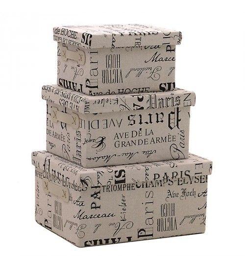 S_3 FABRIC STORAGE BOX 'PARIS' 35Χ27Χ18