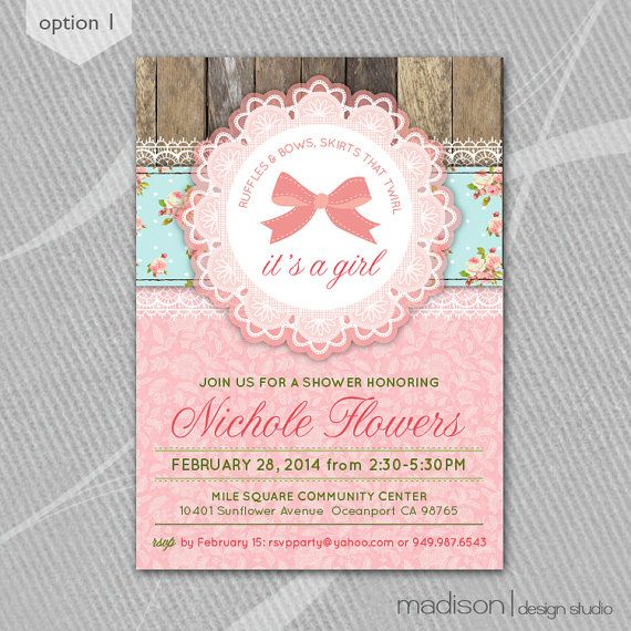 shabby chic rustic baby shower invitation printable 4 color op