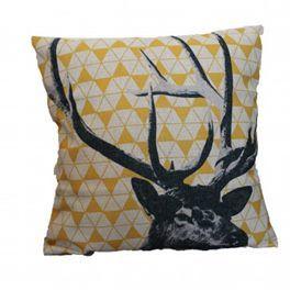 Yellow and black geometric stag head cushion.