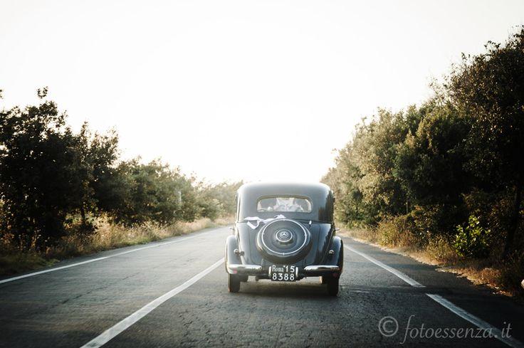 a vintage wedding car
