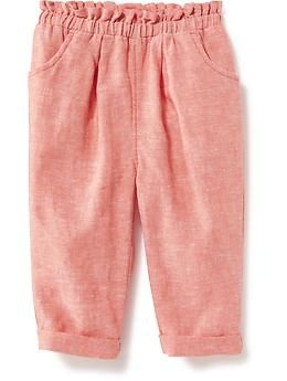 Linen-Blend Pull-On Pants for Baby   Old Navy