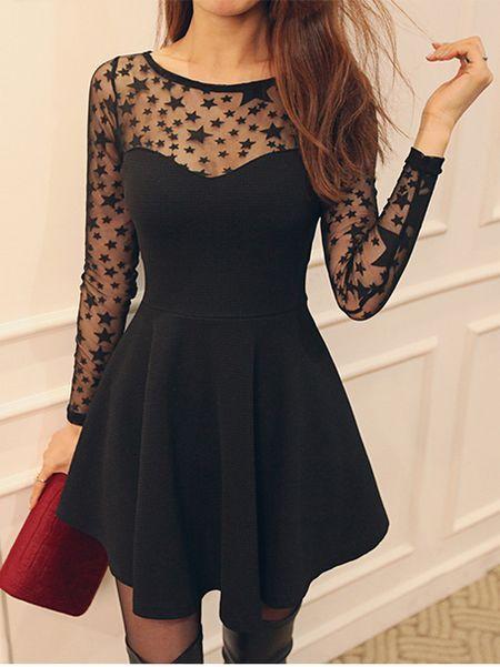 Cute Black Star Pattern Long Sleeve Dress