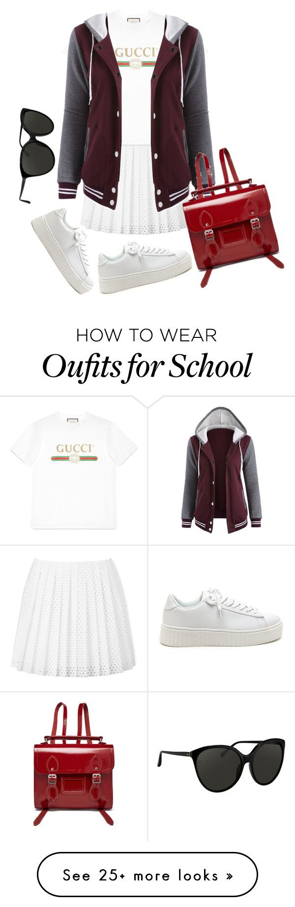 """Old School"" by beatricewolf on Polyvore featuring McQ by Alexander McQueen, Gucci, The Cambridge Satchel Company and Linda Farrow"