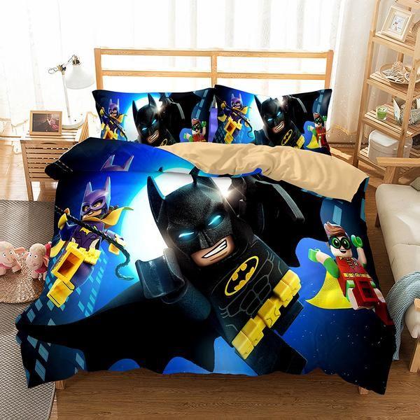 Lego Toys Batmen New Design Art Print Kids Bedding Theme Children Bedding Sets Comforter Boho Bedspreads Kids Bedding Sets Boho Comforters Kids Bedding