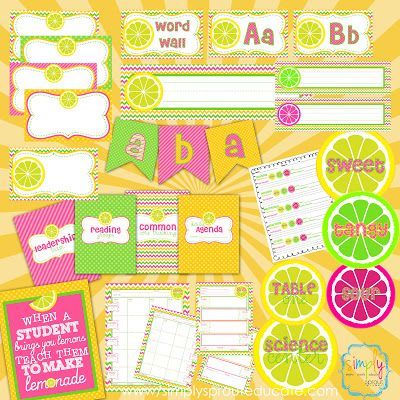Pink Lemonade Classroom Design Kit great resources for teachers for back to school ~ Simply Sprout