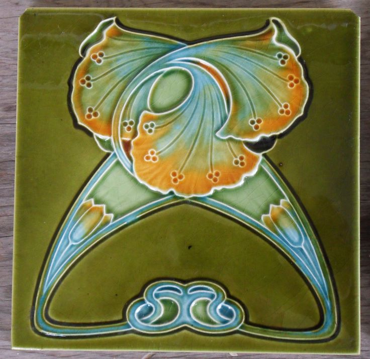 "Knotted Ginko organic Nouveau that I do truly like,this is such a well crafted relief moulded design, tile reference number 256,in my book ""Art Nouveau tiles with Style'."