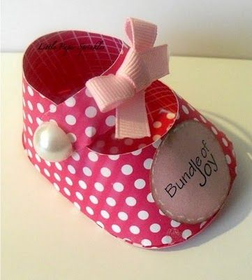 free pattern for baby shoe made from paper, would make a cute party favor filled with candy