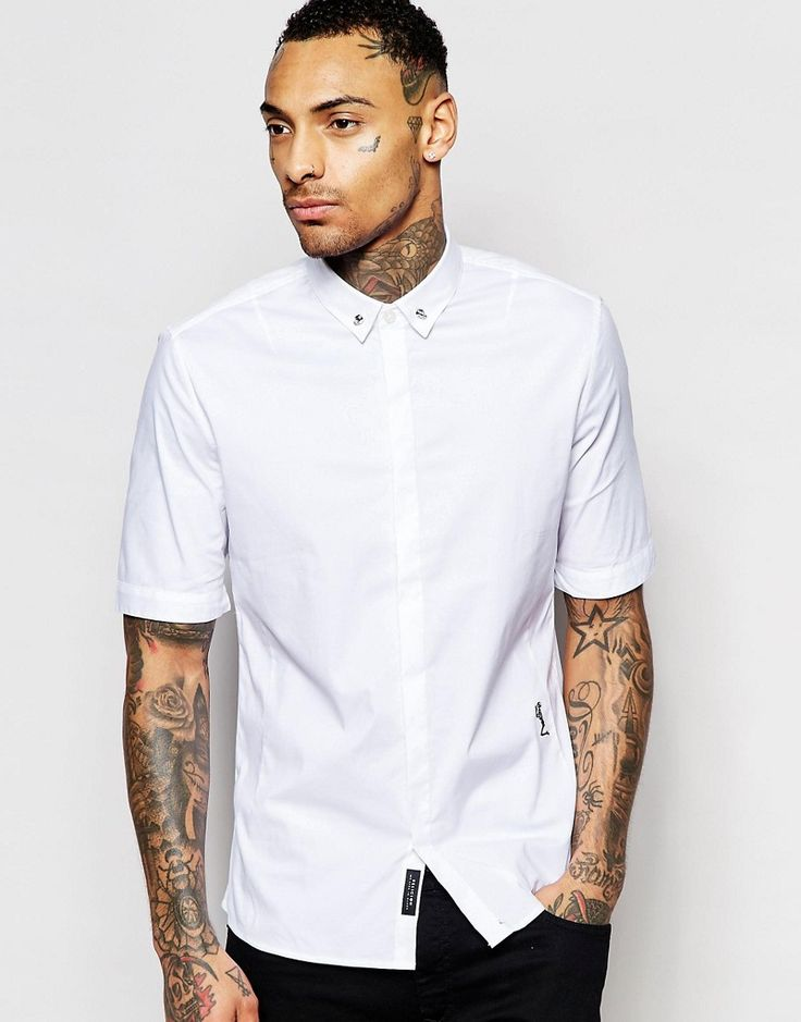 Image 1 of Religion Short Sleeve Shirt with Skull Collar Tips in Regular Fit