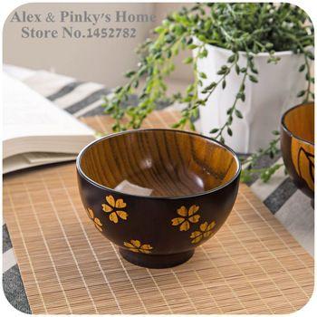 Japonês Talheres de madeira feitos à mão tigelas Saladeira Tigela de Arroz Tigela de Sopa Tigela Cozinha
