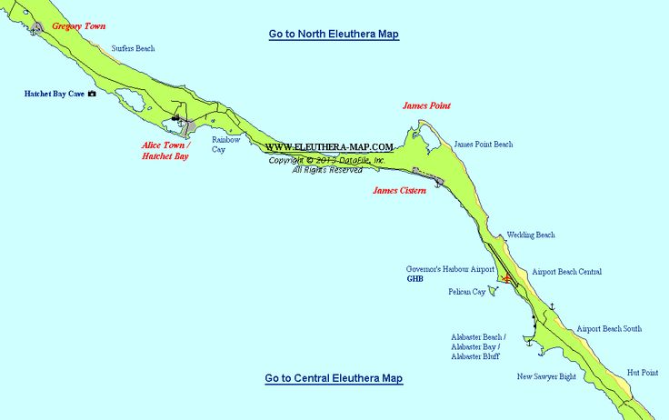 North Central #Eleuthera Map: Gregory Town, Hatchet Bay ...