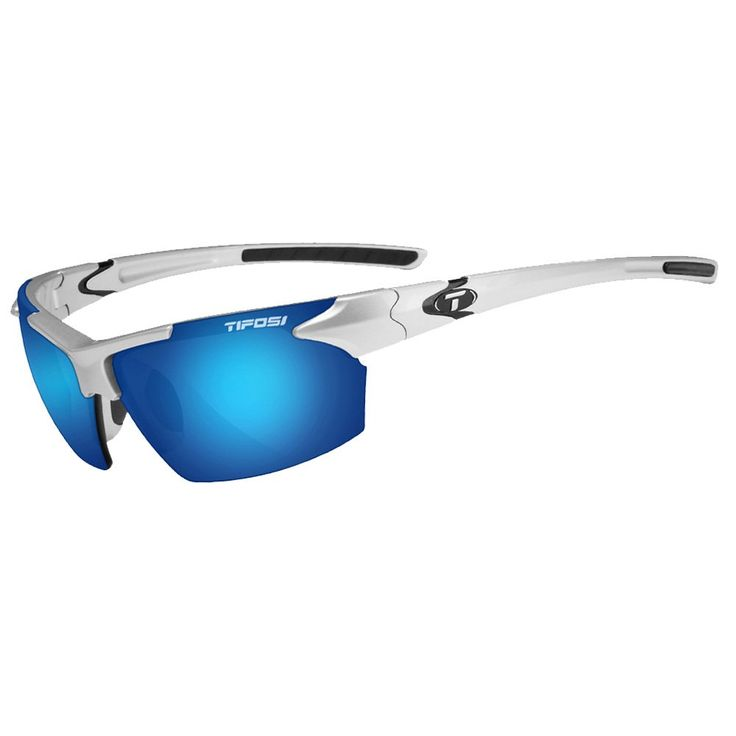 Tifosi Jet 0210400677 Wrap Sunglasses,Metallic Silver Frame/Smoke & Blue Lens,One Size. Shatterproof, optically decentered polycarbonate lenses.