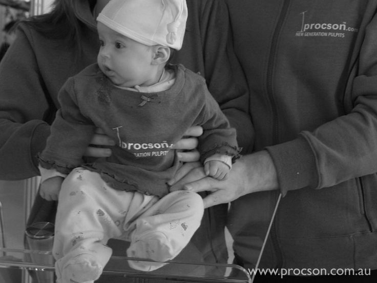 Procson Pulpits has always been a family affair. Here is their eldest child at her first expo, 3 months old.