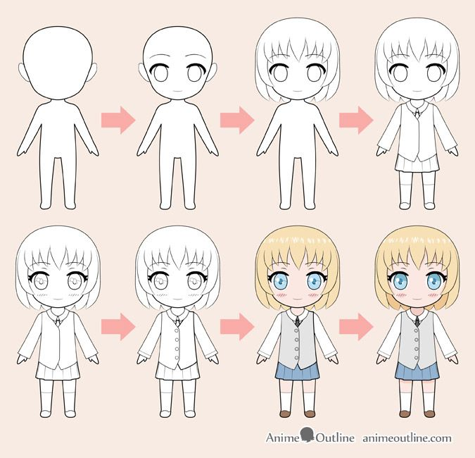 How To Draw Chibi Anime Character Step By Step Animeoutline Chibi Drawings Cute Anime Character Chibi Body