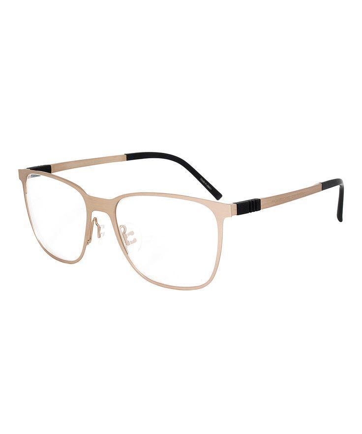 Matte Gold & Titanium Square Eyeglasses