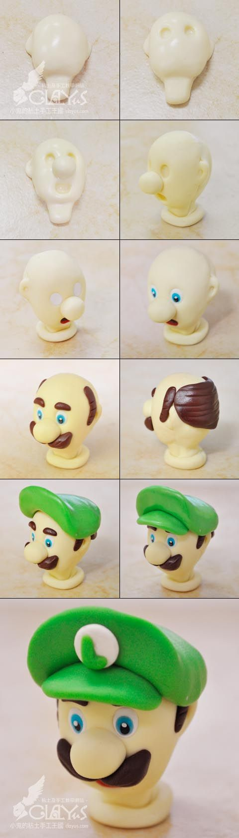 Luigi head model - replace the clay with fondant. Wish i have more time to do this for my son's birthday party.