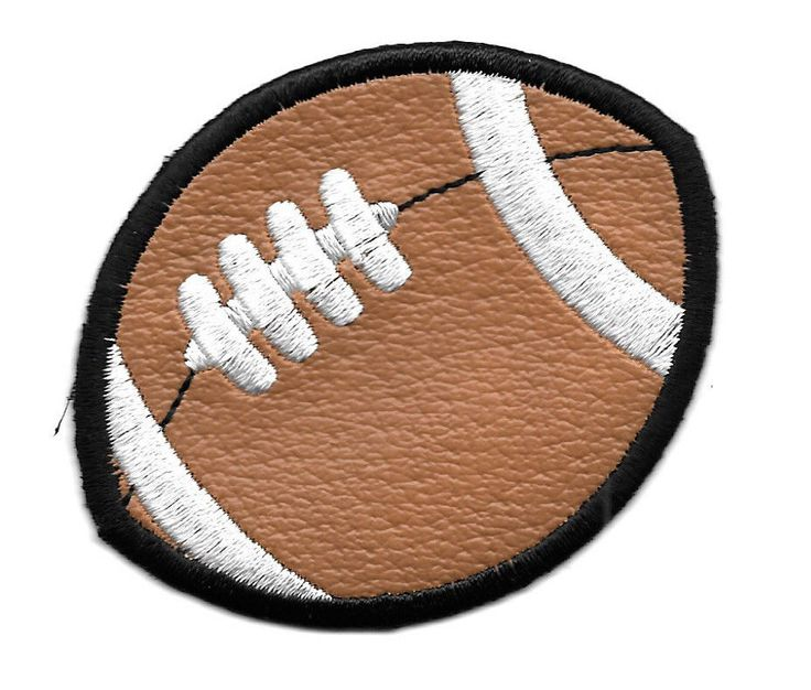 BROWN VINYL & EMBROIDERED FOOTBALL IRON ON PATCH